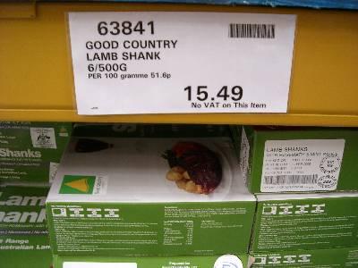 Lamb Shanks 3kg £15.49-