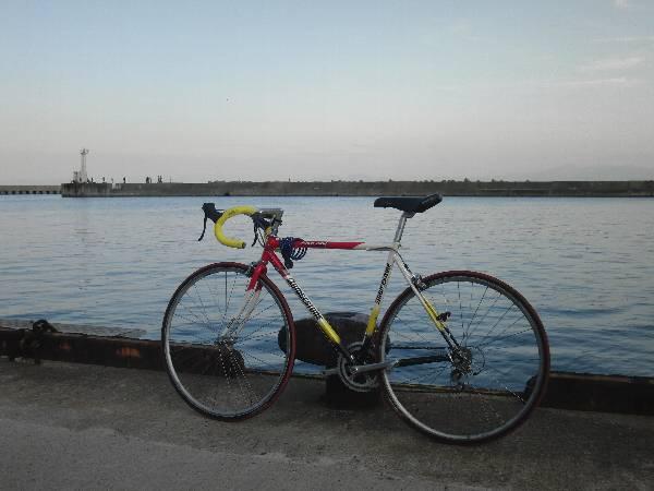 ゴールとなった内浦港と私の自転車