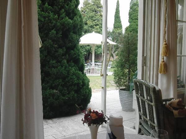 案内された席からの庭の眺め