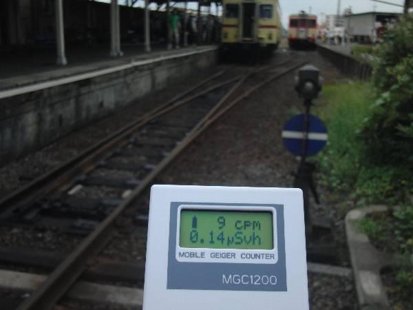 那珂湊駅での放射線量 0.14 μSv/h 前後