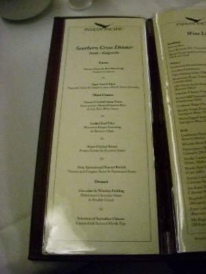 Southern Cross Dinner メニュー