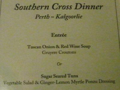 Southern Cross Dinner メニュー Entree