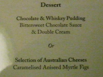 Southern Cross Dinner メニュー Dessert