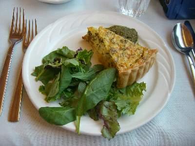 Feta, Onion & Parsley Tart / Basil Pesto & Salad Greens