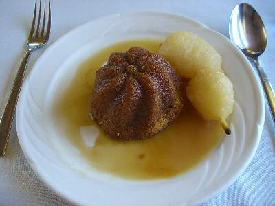 Warm Gingerbread Pudding / Poached Pears & Caramel Sauce