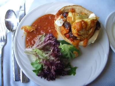 Roasted Pumpkin, artichoke, Goat Cheese, Red Pepper & Olive Tart / Mesclun Salad
