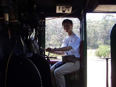 SL の運転席に座って記念撮影