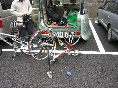自転車準備中