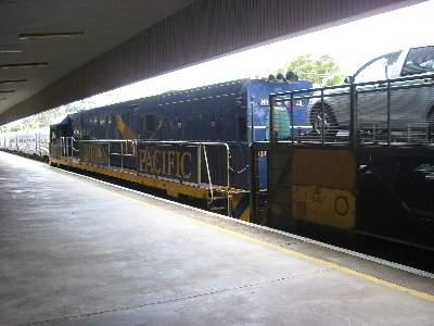 カーキャリアを運ぶ Indian Pacific 号専用塗色の機関車 1